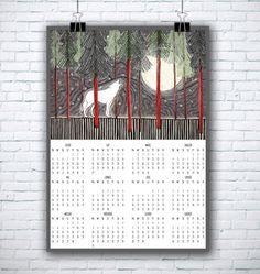 Kalendarz z wilkiem. Do kupienia w atelio.pl