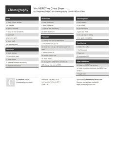 Vim NERDTree Cheat Sheet by StepK http://www.cheatography.com/stepk/cheat-sheets/vim-nerdtree/ #cheatsheet #linux #editor #vim #nerdtree