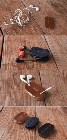 Leather Headphone Earphone Wrap Winder Cable Cord Organizer Holder