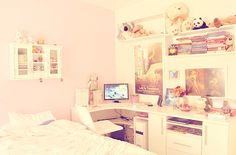 Workspace at girly bedroom