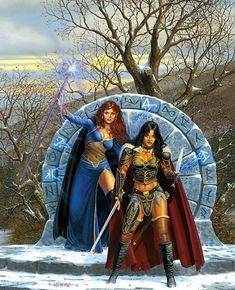Sorceress and warrioress painting by Larry Elmore.
