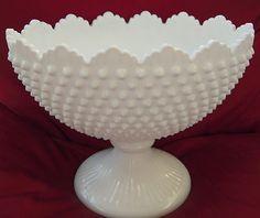 Vintage Fenton White Hobnail Oval Footed Bowl - Scalloped Edge Milk Glass