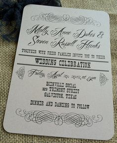 VINTAGE Wedding Invitation  Vintage Scroll by kandvcrafts on Etsy, $4.25