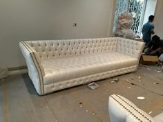 Luxury modern chesterfield sofa white color