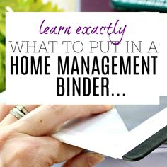 What to put in a Home Management Binder - Categories Revealed! Contents of a Home Management Binder - So you can create your own Family Notebook Household Notebook, Household Binder, Household Tips, Notebook Organization, Home Organisation, Paper Organization, Business Organization, Home Binder, Budget Binder