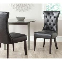 Safavieh Columbo Antique Black Bicast Leather Side Chair (Set of 2)-MCR4719A-SET2 - The Home Depot