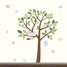 This adorable tree decal with flowers, birds and owls is perfect for a nursery, kids' room or playroom. These wall decals are made with designer vinyl and and extremely low thickness warrants a perfectly smooth blend with the surface.