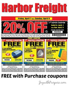 Tons of coupons for FREE items at Harbor Freight! Great for donating to lots of charities!