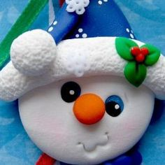 *TREE ORNAMENT ~  Snowman Polymer Clay. by angelique