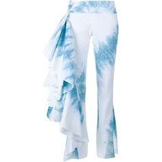 Rosie Assoulin Tie-Dye Fiesta Trousers (10.415 HRK) ❤ liked on Polyvore featuring pants, blue, drapey pants, blue tie dye pants, tye dye pants, drape pants and light blue pants