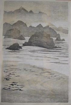 """Hartland Rocks"" woodblock by Merlyn Chesterman of Hartland, North Devon. http://www.woodblock.eu/ Tags: Linocut, Cut, Print, Linoleum, Lino, Carving, Block, Woodcut, Helen Elstone,"