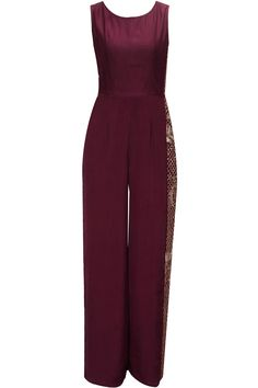 Oxblood embroidered jumpsuit with attached drape available only at Pernia's Pop-Up Shop.