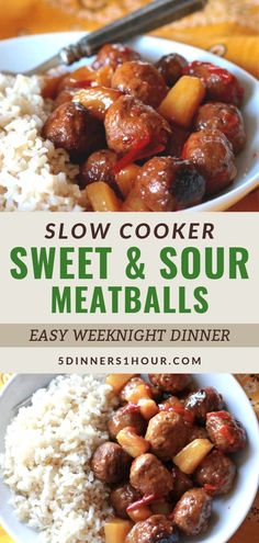 Healthy & Easy Slow Cooker Sweet & Sour Meatballs | Easy Healthy Recipes & Meals for Families - One of our most popular recipes is this slow cooker sweet & sour beef meatballs meal. It's healthy, perfect for kids & makes an easy weeknight dinner. Click through for the full recipe & learn to make these easy recipe in your crockpot! | 5 Dinners 1 Hour #slowcooker #beefrecipes #healthyrecipes #easyrecipes #quickrecipes #familyrecipes #dinnerrecipes #dinnerideas #mealideas