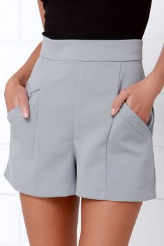 BB Dakota Womens Bryan High-Waisted Shorts, Dove Grey ** Learn more by visiting the image link. BB Dakota Womens Bryan High-Waisted Shorts, Dove Grey ** Learn more by visiting the image link. Mode Stage, High Waisted Shorts, Casual Shorts, Grey Shorts Outfit, Short Outfits, Cute Outfits, Short Skirts, Short Dresses, Sailor Shorts