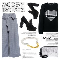 """""""MODERN TROUSERS"""" by ifchic ❤ liked on Polyvore featuring Marissa Webb, Mother of Pearl, 10 Crosby Derek Lam, McQ by Alexander McQueen, Giles & Brother and modern"""