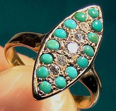 Victorian 12K Turquoise & Diamond Ring by FionaKennyAntiques