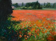 painting of Field of Poppies, Morning/Julian Merrow-Smith