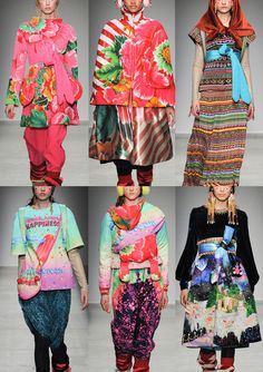 Indian artisans Prints - Candy Graphics & Stripes – Peruvian Pattern and Colour Blasts – Candy Crush themes – Acidic Brights and Optical Pattern Plays – Oversized Blooms   Paris Fashion Week – Autumn/Winter 2014/2015 – Print Highlights – Part 1 catwalks