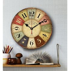 Large Vintage Rustic Wooden Wall Clock Kitchen Antique Shabby Chic Retro  Home #wall Clocks #