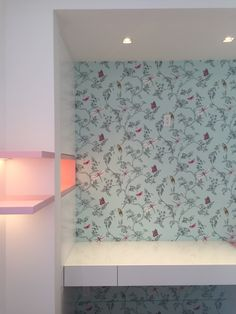 carpentry details. Millwork . Push latch doors. White satin carpentry. Contemporary carpentry . Pops of color . Designed by DKORistas from DKOR interiors.  carpentry. Kids bedroom design . Contemporary interior design. LED lighting. Butterfly wallpaper