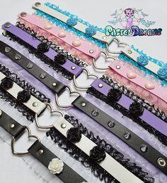 vegan leather choker with frilly trim & ceramic flowers necklace Soft Grunge, kawaii,harajuku,fairykei,decora,goth, pastelgoth