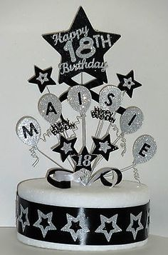 Balloons Birthday Cake Topper Any Name & Age 18th 21st 30th 40th 50th 60th 70th