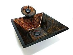 """Alpha Plus 17"""" Square Brown Reflection Hand Paint Tempered Glass Vessel Sink & Oil Rubbed Bronze Faucet Combo - YH9112ACP10009ORB Alpha Plus"""