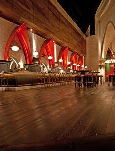 Panga Flooring from DuChâteau's Terra Collection at Ballo Italian Restaurant.