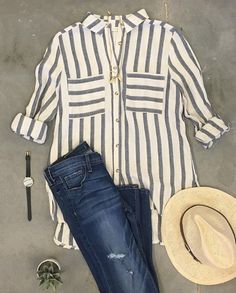 This breezy striped button up is the perfect fall top.