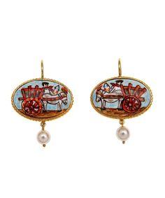 La Sicilia Store Orecchini ovale Carretto Siciliano oro 24 carati Farruggio Jewellery tipico siciliano - Gioielli siciliani - Stile siciliano