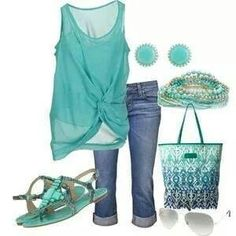 Turquoise tank top & jean capris