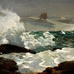 Winslow Homer Paintings, Monet Paintings, Seascape Paintings, Landscape Paintings, Watercolor Paintings, Realistic Paintings, Landscapes, Oil Painting For Beginners, Oil Painting Techniques