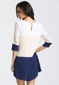 White Apricot Navy Color Block Dress -SheIn(Sheinside)