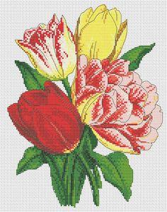 Cross stitch pattern vintage tulips garden by LaMariaCha on Etsy