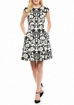 Vince Camuto BlackWhite Printed Fit and Flare Dress with Faux Leather Trim
