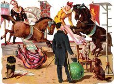 Oblaten Glanzbild scrap die cut chromo Zirkus cirkus 15,3 cm Clown Manege Pferd