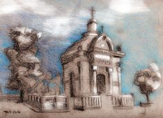 George Mellen - Cuba cemetary - graphite, pencil, PS