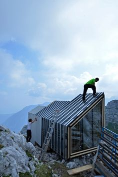 OFIS constructs alpine shelter for climbers of skuta mountain in Slovenia.