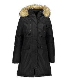 Loving this Black Faux Fur-Hood Pocket Coat on #zulily! #zulilyfinds