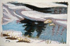 Oil Pastel Reflections in the Grand River Water Amongst the Ice and Snow Postcard Paper, Oil Pastel Art, Fluid Acrylics, Acrylic Box, Large Painting, Art Work, Reflection, Art Pieces, Ice