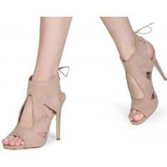 Beige Stiletto Heels Suede Open Toe Cutout  Slingback Sandals