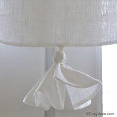Embrasse rideau gros pompon coton blanc d co de charme - Rideau coton blanc brode ...