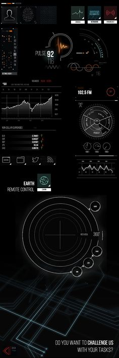 Futuristic UI elements.