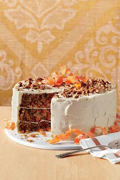 The Ultimate Carrot Cake - Fall Cake Recipes - Southernliving. Recipe: The Ultimate Carrot Cake These layers are tender, so remove from pans carefully! Fall Cake Recipes, Dessert Recipes, Sweet Recipes, Carrot Recipes, Pie Recipes, Cupcake Recipes, Summer Recipes, Crockpot Recipes, Chicken Recipes