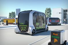 """Toyota and Pizza Hut announced Jan. 8 a """"global partnership,"""" that could see Pizza Hut pizzas delivered in autonomous vehicles designed and built by Toyota. Pizza Hut, Van Toyota, Toyota Usa, Toyota Prius, Mazda, Cargo Transport, Public Transport, Bmw I3, Cheap Car Insurance"""