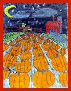 Perspective Pumpkin Patch: Too difficult for kinder but I like the crayon drawings with watercolor on top
