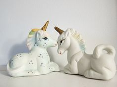 {vintage porcelain Unicorns} polka dot and rainbows! (my grandmother use to have some of these and I played with them when I was young, good memories.)