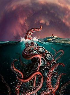 Kraken Animal Illustrations by Jerry LoFaro Le Kraken, Kraken Art, Mythical Creatures, Sea Creatures, Alfons Mucha, Monster Museum, Octopus Art, Octopus Drawing, Architecture Tattoo