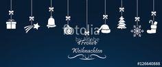 Vektor: Frohe Weihnachten - Blau/Weiß