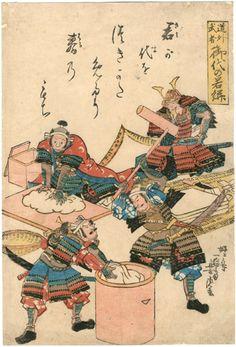 森宮古美術*古美術もりみや-芳虎 Yoshitora 『道化武者 御代の若餅』